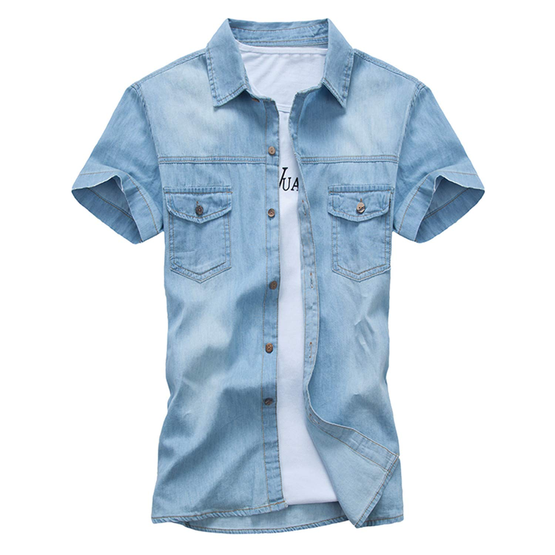 Adam Woolf New Men Denim Shirt Fashion Summer Style Short Sleeve Casual Shirt Slim