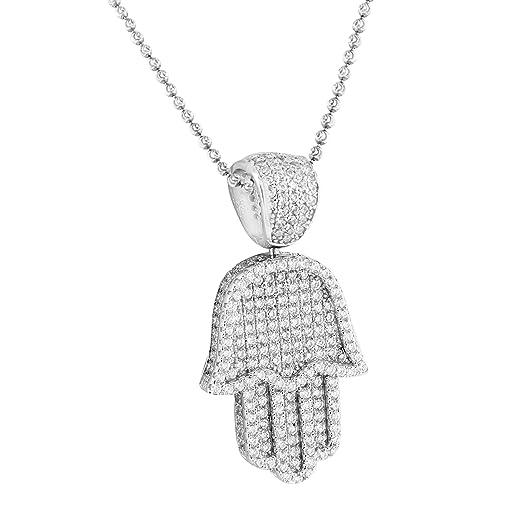 Amazon white gold hamsa hand pendant moon chain 925 silver white gold hamsa hand pendant moon chain 925 silver simulated diamonds unisex aloadofball Choice Image