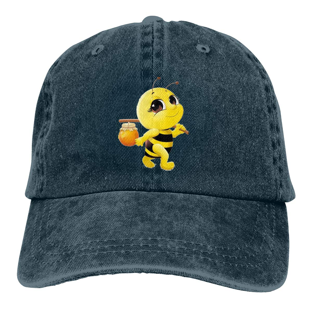Qbeir Adult Unisex Jeans Cap Adjustable Hat Honey Bee Cotton Denim