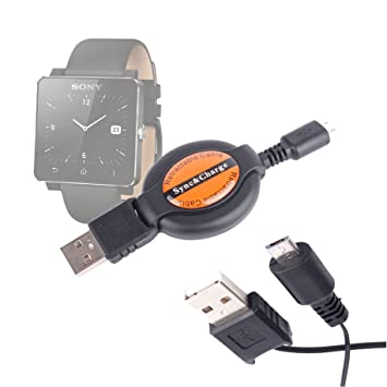 DURAGADGET Cable MicroUSB Retráctil para Sony SmartWatch 2 ...