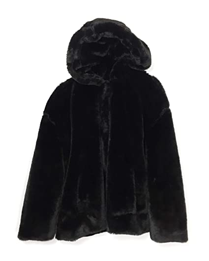 8ec1b3f507 Zara Women's Hooded Faux Fur Jacket 6318/233 Black: Amazon.co.uk ...