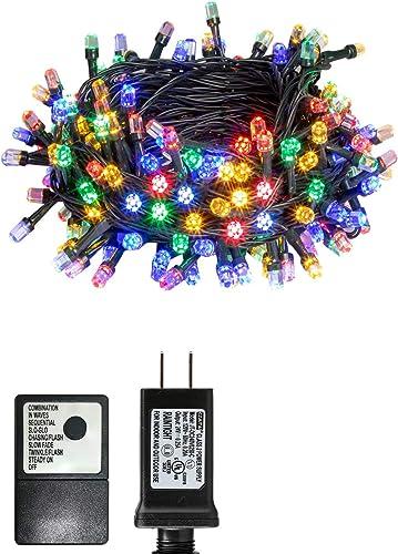 PEIDUO Christmas Fairy String Lights Plug Powered 30V 8 Modes 200 Diamond LED R G B Y Multi Colored Tree Dazzler Lights for Home, Christmas Tree, Dorm Bedroom Indoor Wall Decoration