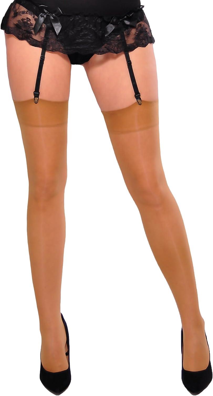Women/'s Lycra Sheer Belt Suspender Stockings Over the Knee Cher Gabriella