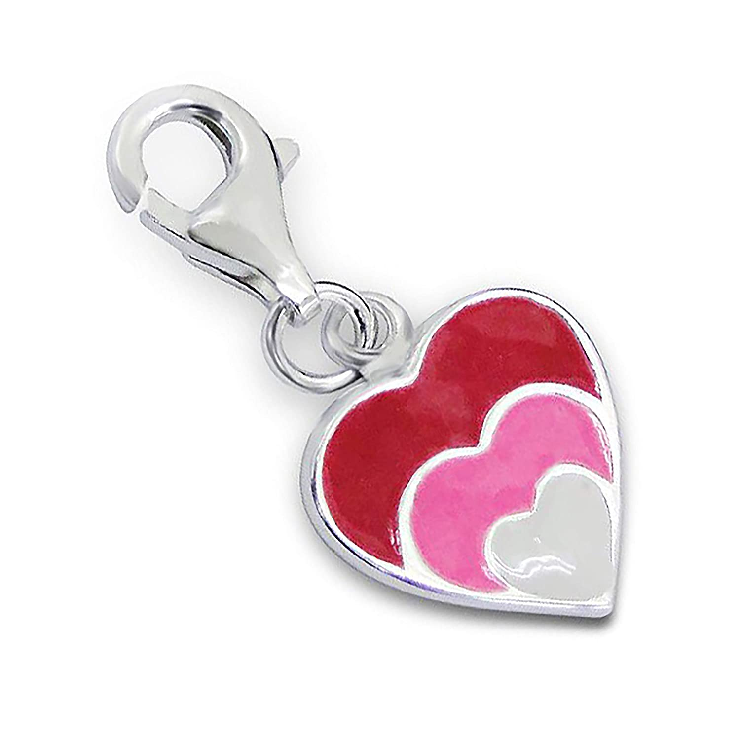 TheCharmWorks Sterling Silver Enamelled Hearts Clip on Charm