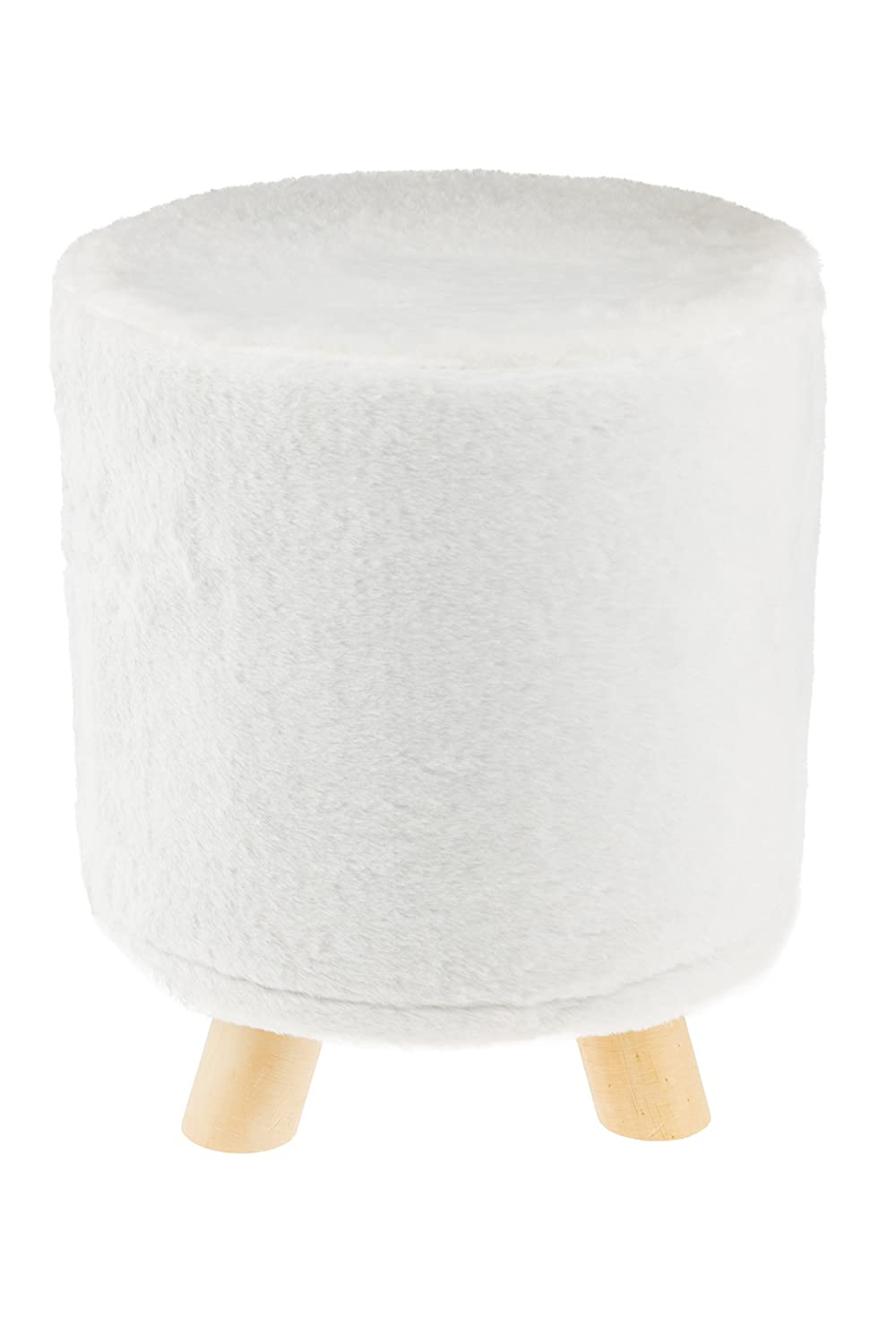 Astonishing Premium Furry White Round Foot Stool Real Wood Legs Stands 12X12X13 Inches Gmtry Best Dining Table And Chair Ideas Images Gmtryco