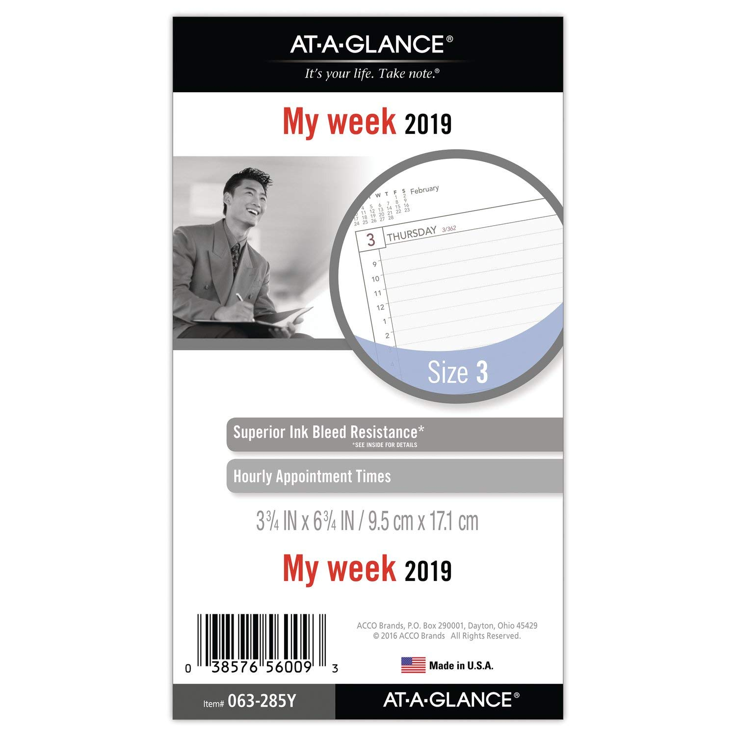 AT-A-GLANCE 2019 Weekly Planner Refill, Day Runner, 3-3/4