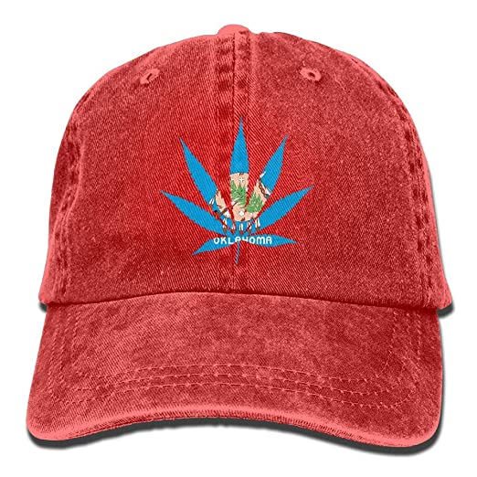 8decb652404 Image Unavailable. Image not available for. Color  PINE-TREE-CAP Oklahoma  State Flag Weed Marijuana Dad ...