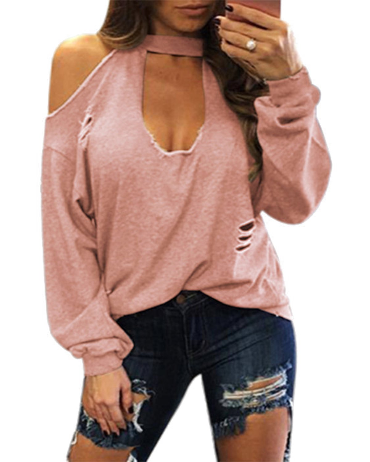 YOINS Women Sexy Cold Shoulder Plunge Neck Ripped Long Sleeves Top Pink S