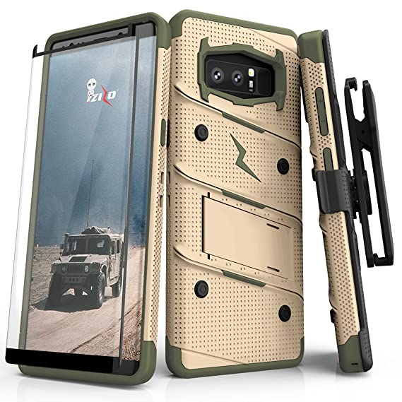 100% authentic 60928 e6ec7 Zizo Bolt Series Compatible with Samsung Galaxy Note 8 Case Military Grade  Drop Tested with Tempered Glass Screen Protector Holster TAN CAMO Green