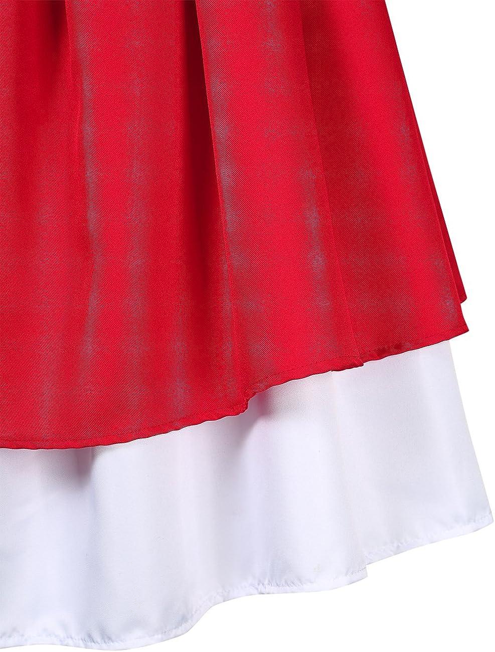 Chemisier Midi Robe Traditionnelle pour lOktoberfest Polka Dot Violet KOJOOIN Vetement Dirndl pour Femme Trois Pi/èces: Robe