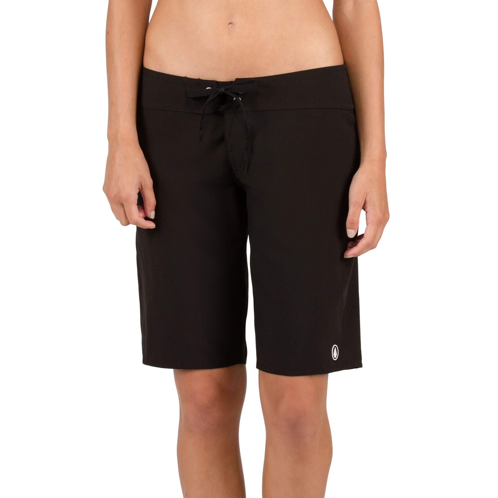 Volcom Women's Simply Solid 11-inch Classic Swim Boardshort, Black, 13