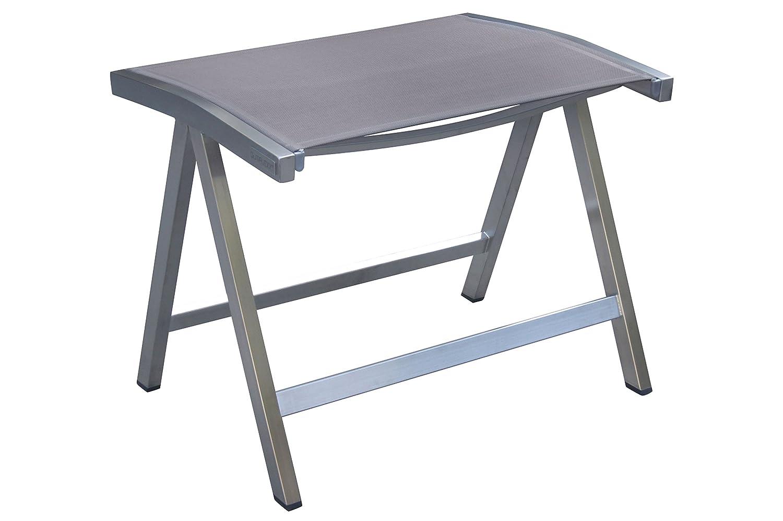 OUTFLEXX stilvoller Hocker in edlem Silber-Taupe, Sitzfläche aus hochwertigem Textilen, Edelstahl-Gestell, ca. 43x55x45cm, wetterfester Gartenhocker, Stabiler Stapelhocker, Fußablage, Sitzhocker