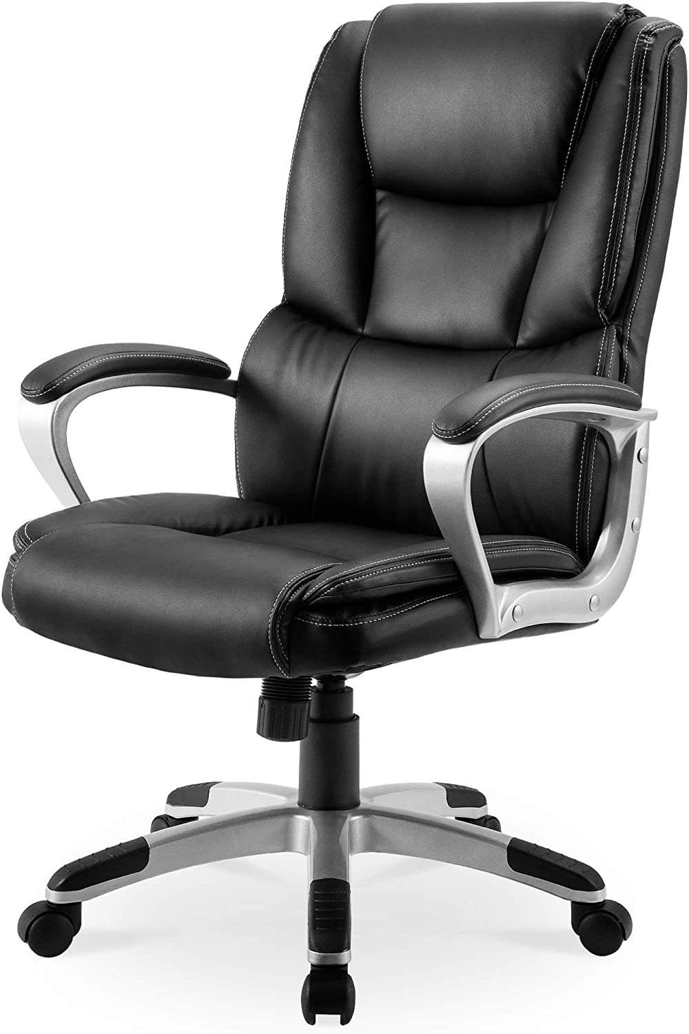 Executive Office Chair 300 LB Heavy Duty,JULYFOX PU Leather Gaming Chair High Back Ergonomic Lumbar Support Padded Seat Head Pillow Armrest Tilt Control Bonded Swivel Desk Chair-Black