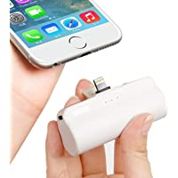 iWALK Mini 3300mAh Portable Charger Built in Connector, Lipstick-Sized External Battery Pack Power Bank Compatible with iPhone Xs max/Xs/XR/X/8/7/6/5, iPad, (White)