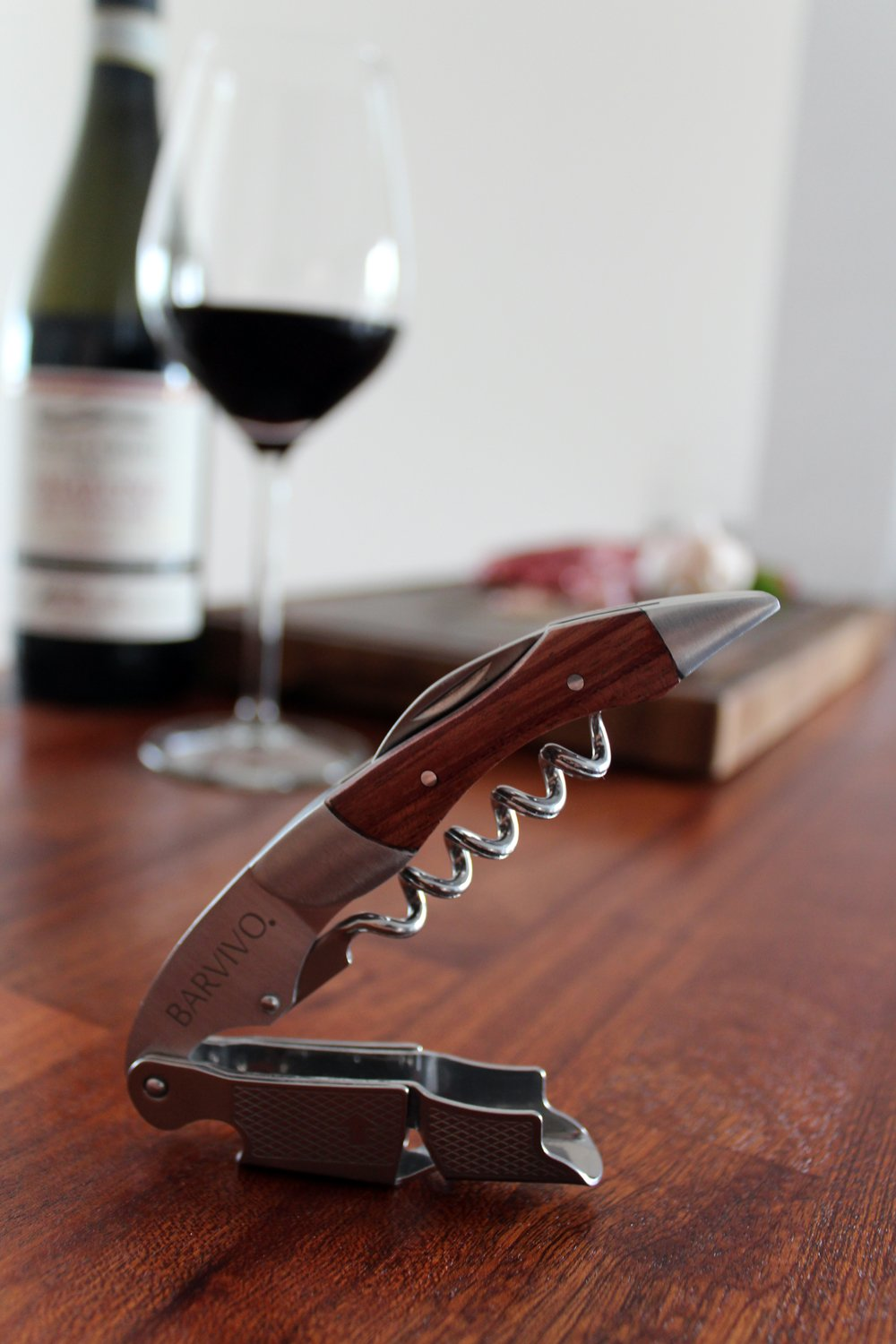 Professional Waiters Corkscrew by Barvivo - This Wine Opener is Used to Open Beer and Wine Bottles by Waiters, Sommelier and Bartenders Around the World. Made of Stainless Steel and Natural Rosewood. by Barvivo (Image #9)