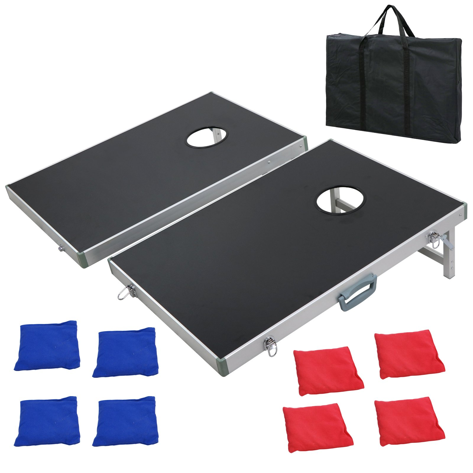 Nova Microdermabrasion 3ft X 2 ft Cornhole Bean Bag Toss Game Set Aluminum W/Carrying Case for Tailgate Party Backyard BBQ (3' x 2' Aluminum)