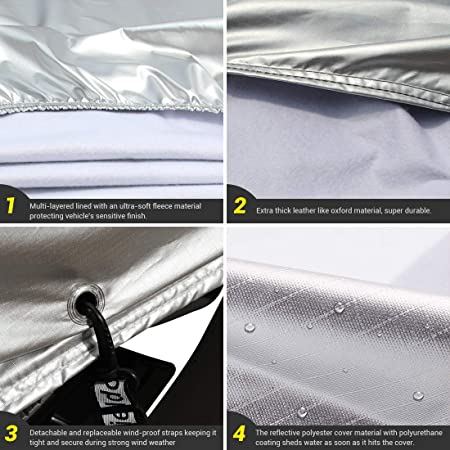 Shieldo Heavy Duty Car Cover with Windproof Straps and Buckles 100/% Waterproof All Season Weather-Proof Fit 160-172 Length Hatchback