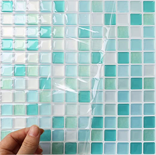 3D Mosaic Wall Stickers Tiles Self Adhesive Kitchen Bathroom Home Decor Mural CA