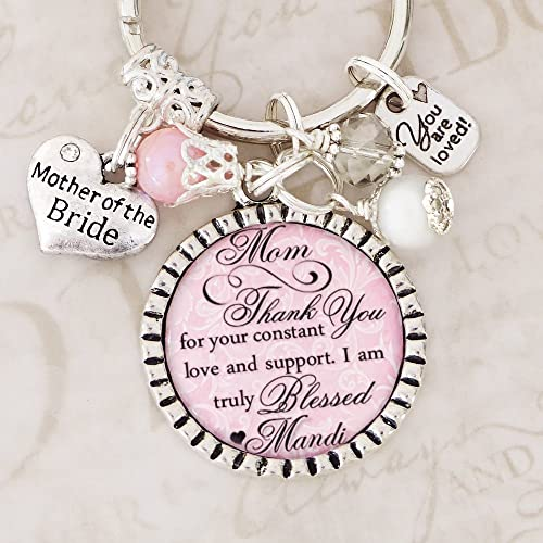 Mother Of The Bride Gifts Thank You Keychain Or Necklace Wedding Jewelry Personalized Pink