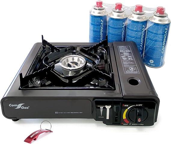Bricolemar Hornillo a Gas Butano Portátil Regulable + 4 Cartuchos CP250 Compatibles Campingaz + Llavero Regalo