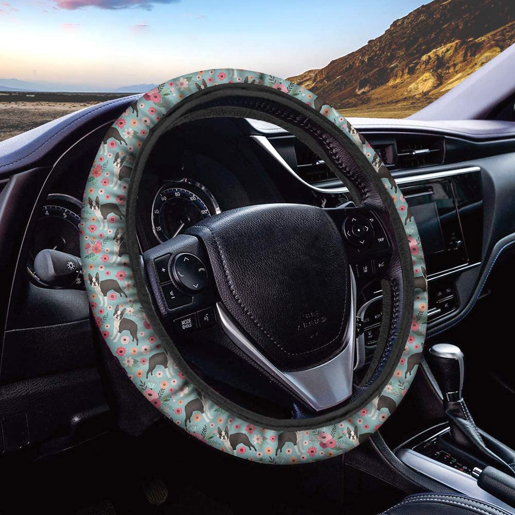 doginthehole Stylish Flower Car Steering Wheel Cover for Women and Girls,Universal 15 inch Breathable Anti Slip Auto Steering Wheel Covers,Boston Terrier Pattern