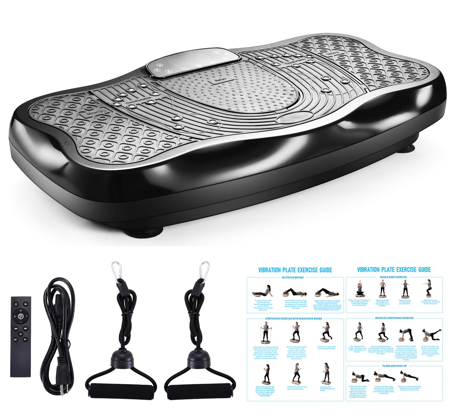 TODO Vibration Platform Power Plate Wholebody Vibrating Massager- Remote Control/Bluetooth Music/USB Connection