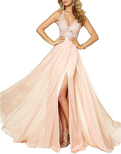Fnina Women's 2017 Long Beaded Prom Dresses with Slit Formal Gown F082