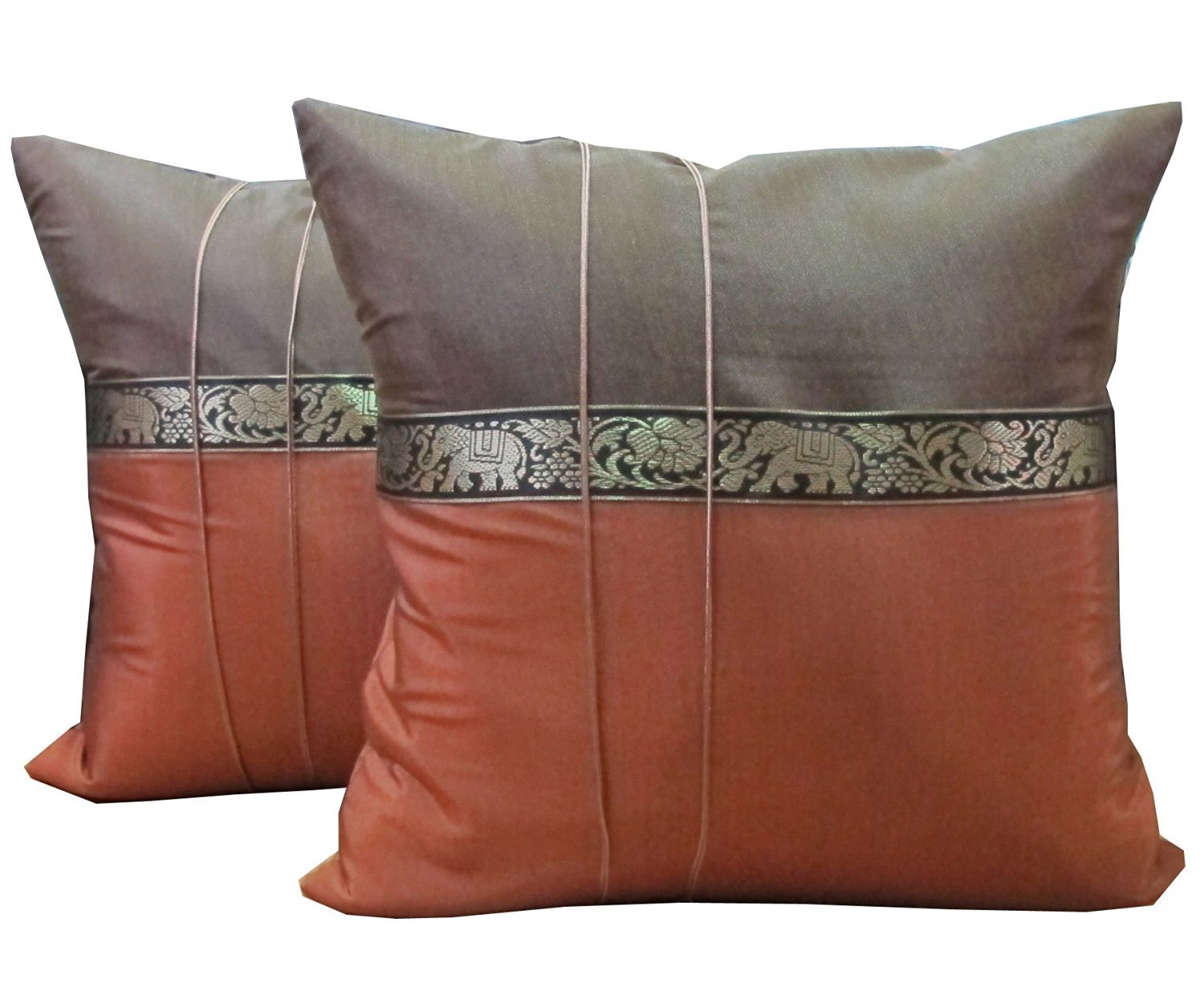 One Pair Brown Elephant Stripe Throw Cushion Cover/Pillow Case Thai Silk for Decorative Sofa, Car and Living Room Size 16 X 16 Inches