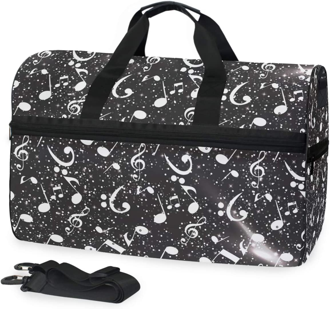 AHOMY White Black Musical Note Sports Gym Bag with Shoes Compartment Travel Duffel Bag