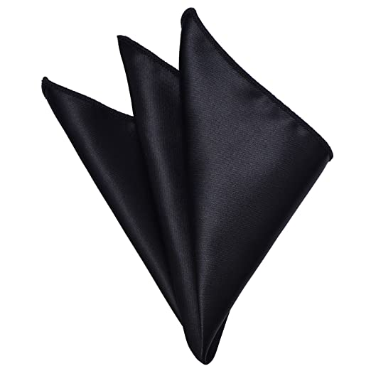 9ece355cd764 Mens Pocket Square Black Solid Color Handkerchiefs Classic Scarf by YAKEE  LEMON