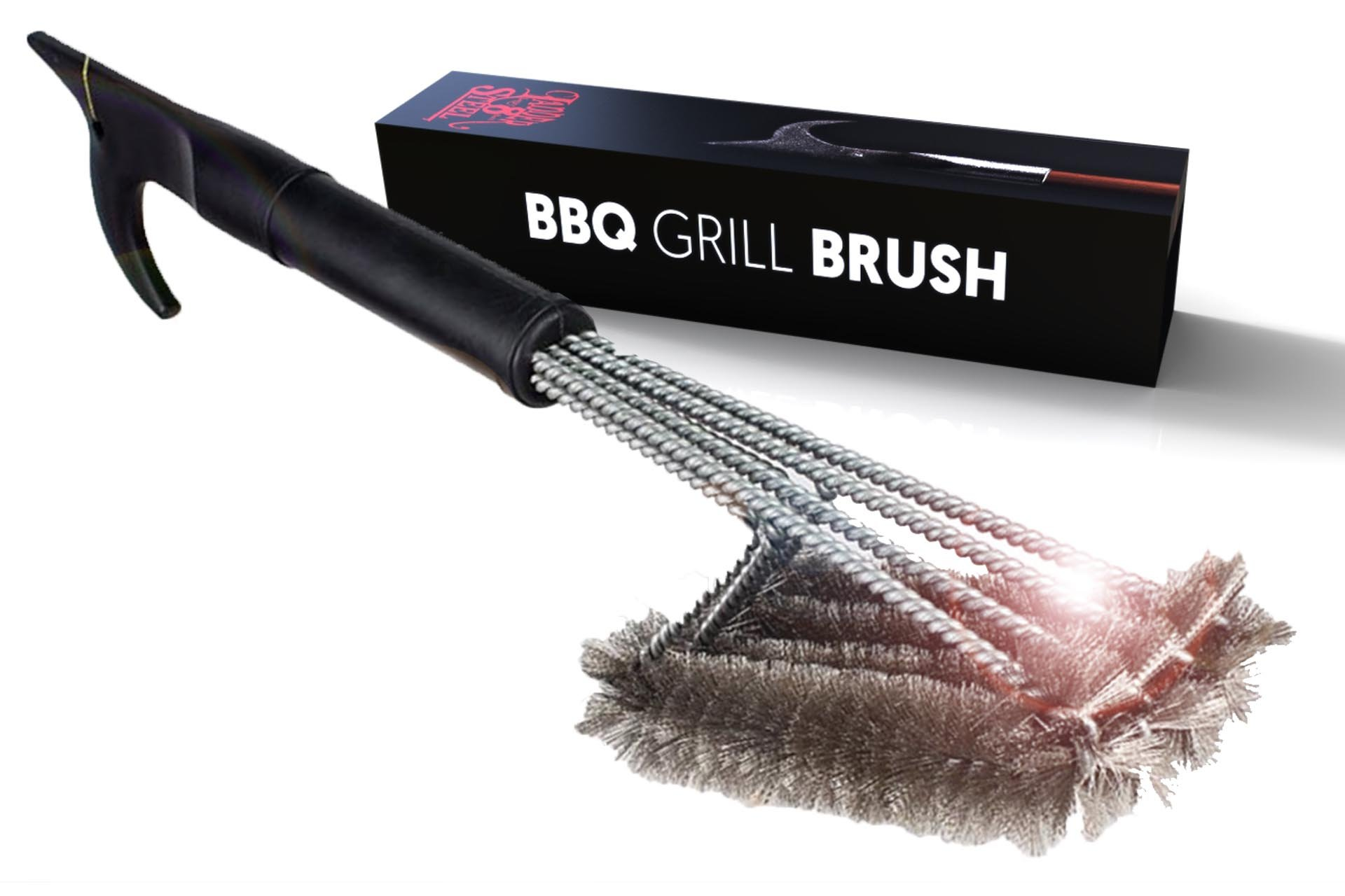 Best BBQ Grill Brush 4-in-1 Head Design | 18'' Grill Cleaner - Safe Tool | Steel Bristles, Won't Scratch Grate | Perfect BBQ Tools Gift for Men, Barbeque Grill Accessory | Fireman Designed by Jolly Green Products