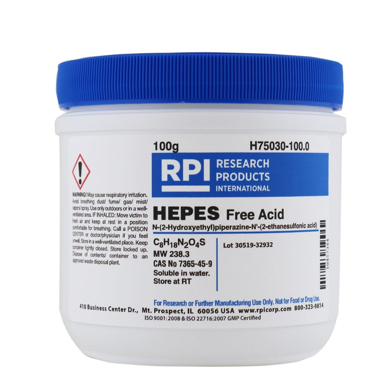 HEPES, Free Acid [N-(2-Hydroxyethyl) piperazine N'-(2-ethanesulfonic acid)], 100 Grams
