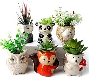 Ceramic Planter Pot with Drainage Holes Cute Cartoon Succulent Planter Pots Planting Pot Flower Pots Perfect for Garden, Kitchen, Windowsill - Set of 6 Pack
