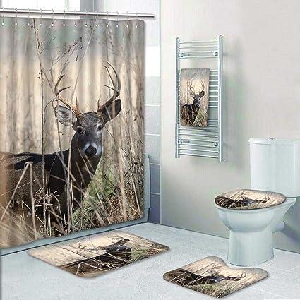 Amazon PRUNUSHOME 5 Piece Bathroom Set Includes Shower Curtain