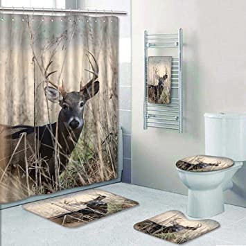 PRUNUSHOME 5 Piece Bathroom Set Includes Shower Curtain Linerwhitetail Deer Buck Mov