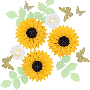 Fonder Mols 3D Sunflower Paper Flowers Decorations for Wall, Nursery Room Decals, Wedding Bouquet Centerpieces Decorations