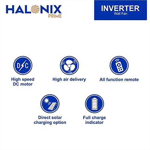 Halonix Inverter 400mm Wall Fan with Built-in LED Light and Remote (White)