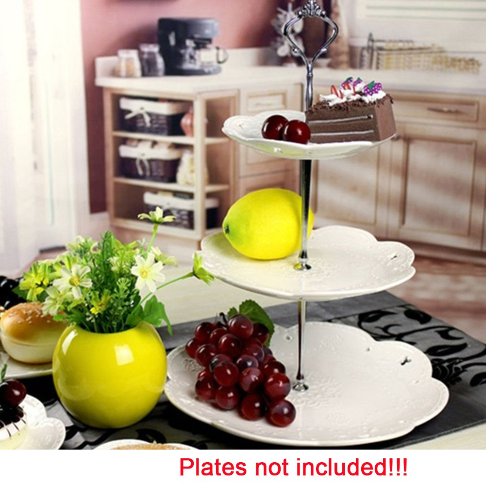 3 Tier Cake Fruit Food Plate Stand Zinc Alloy Cupcake Stand Round Serving Tray Platters Fitting Hardware Tool for Weddings, Tea Party, Holiday Dinners,Birthday Parties(Silver) by YOTHG (Image #6)