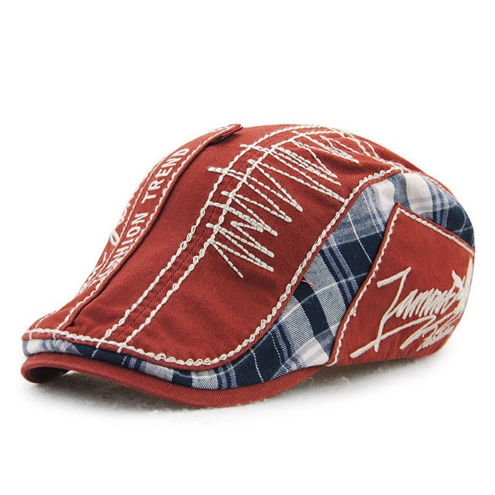 Jamont Summer Retro Plaid Newsboy Ivy Cap Hat for Men and Women Z-5032
