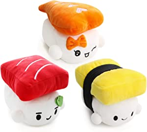 "Sushi Cushion 6"" (15cm) x 3 set, Egg, Shrimp, Tuna by Choba, Cute Plush Pillow Cushion Doll Toy Bedding Room Decoration Kawaii"