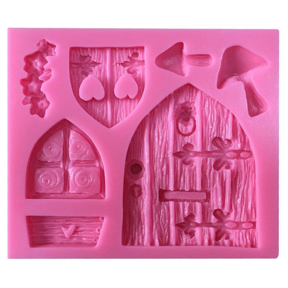 LYNCH Ventanas de Puerta de Madera Molde de silicona 3D molde Bakeware decoración de molde de jabón de pasta de azúcar Rosa: Amazon.es: Hogar