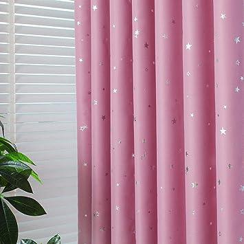 2er-Set Rosa Sterne Vorhänge für Kinder Kinderzimmer (245*140, Rosa Sterne)