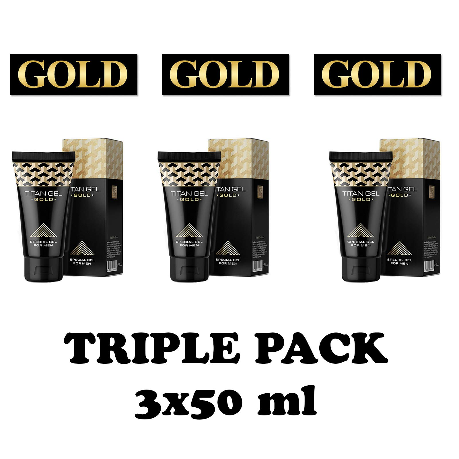 3Pcs New Original Titan Gel Gold Penis Enlargement Cream Retarder Intim Gel Erection Cream for Male Potency Increase Sex Time by yang-hengtt