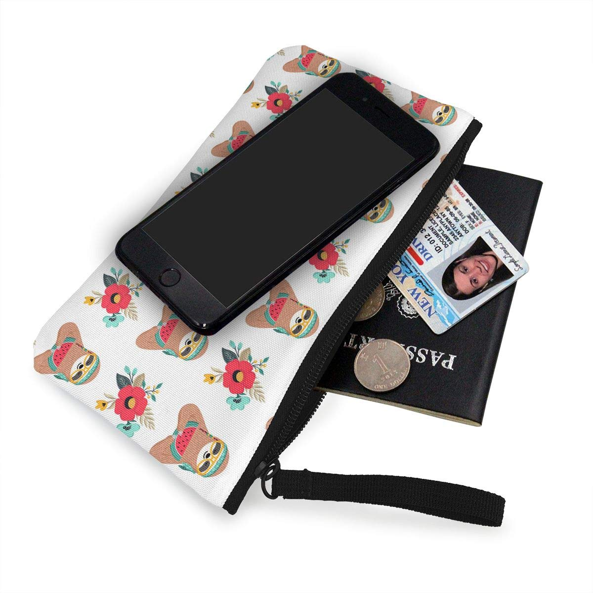 Hippie Sloth Eating Watermelon Pattern Canvas Card Wallet with Zipper for Women Bk55Oi/&/& Womens Fashion Purse