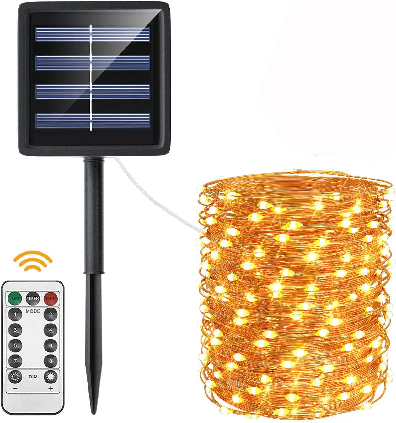 ACCGUYS Solar String Lights Outdoor with Remote, Upgraded 8 Modes 72 FT 200 LED Solar Powered String Fairy Lights, Waterproof Copper Wire Lights for Garden Yard Patio Party Decor(Warm White)