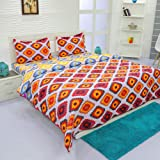 Aurome - Microfiber 4 Pc All Season Comforter Set (120 GSM) , 1 Double Bed Comforter + 1 Double Bedsheet + 2 Pillow Covers (Rhombus Print)