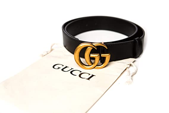 GG Belt for Women Double G Gold Buckle Black Leather 1.5