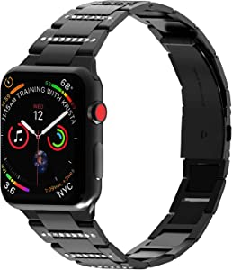 PUGO TOP Band Replacement for apple watch 40mm Series 6 5 4 38mm Series 3 2 1 SE iwatch Iphone Watch Link Strap Ultra Thin Stainless Steel Metal Bling (38mm/40mm, Black)