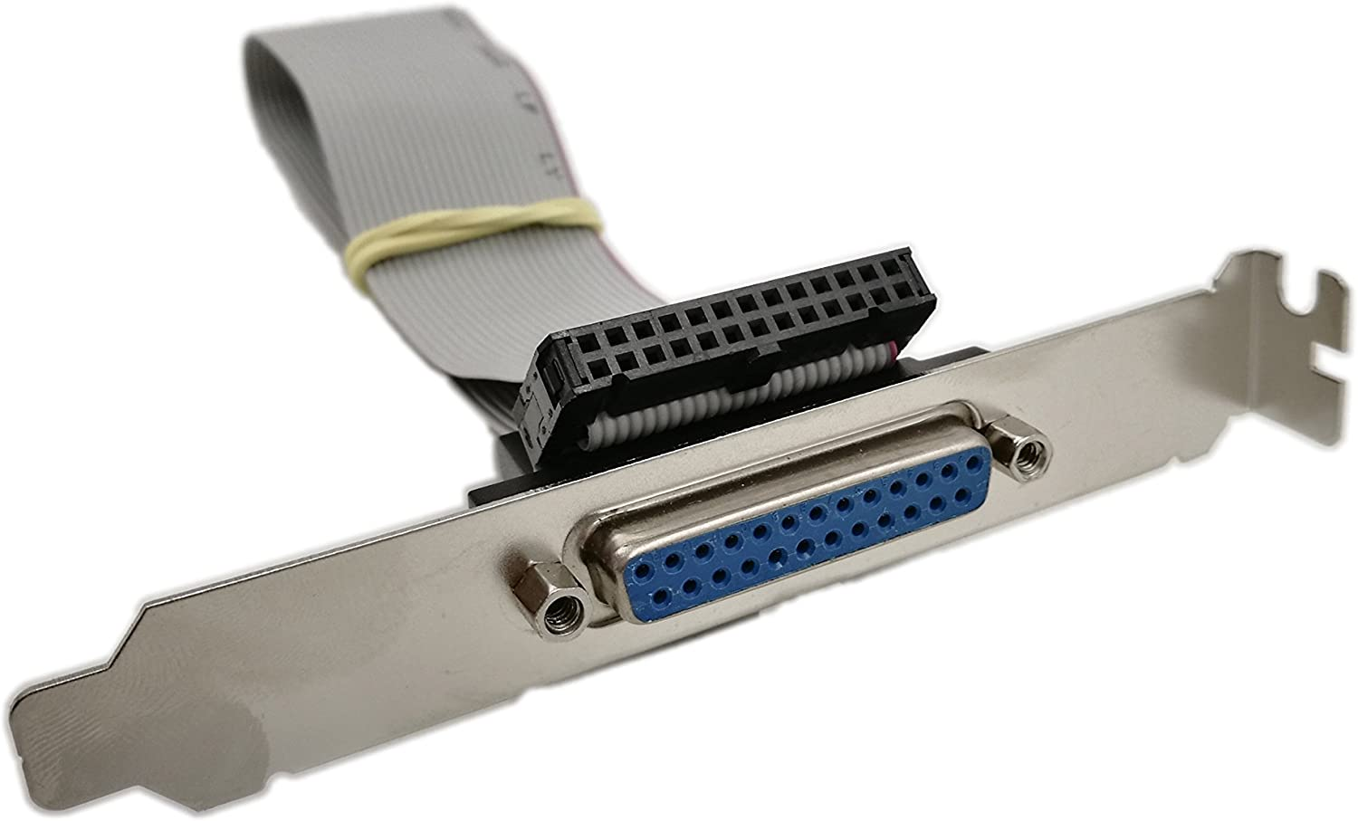 SINLOON DB25 Adapter with Bracket to IDC 26 Pin Ribbon Cable, Motherboard Slot Plate Parallel Panel DB-25 Female to 26 Pin IDC Socket Flat Cable