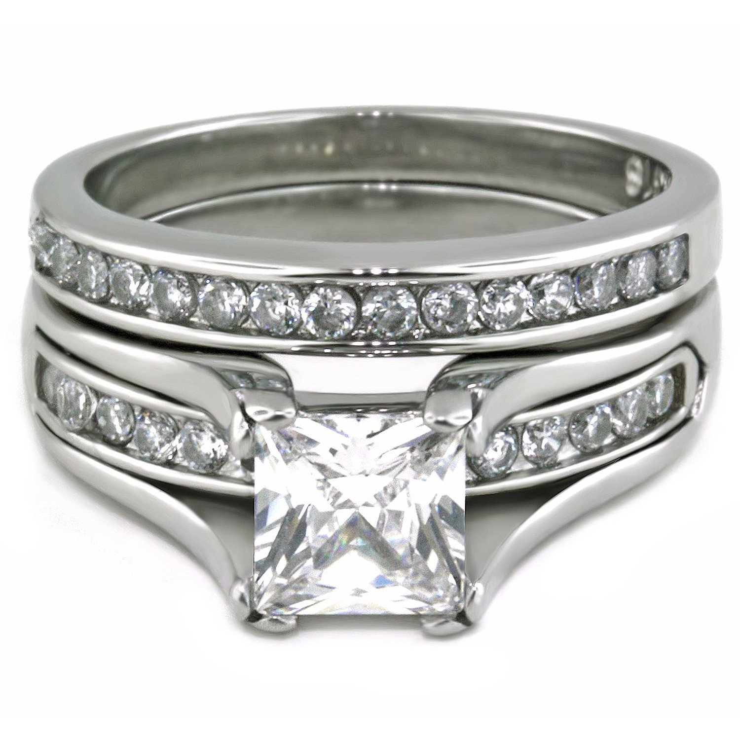 Amazon Princess Cut 1 Carat CZ Wedding Ring Sets Stainless